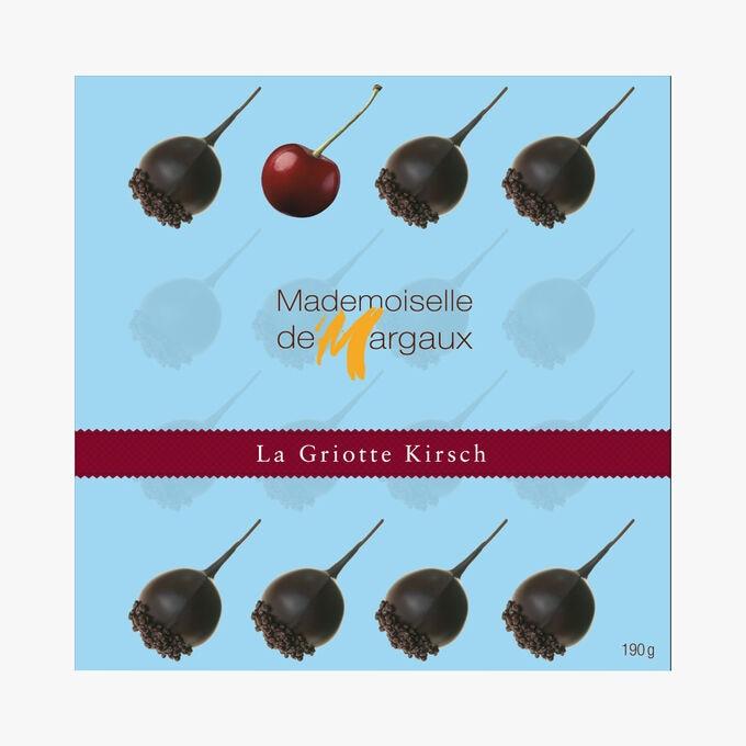 Coffret de 16 bonbons de chocolat aux griottes à l'alcool réhaussé de Kirsch Mademoiselle de Margaux