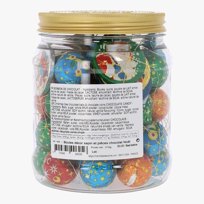 Bocal boules décor sapin et pièces chocolat Noël Les Gourmandises de Sophie