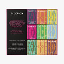 Assortiment de 27 tablettes de chocolat noir et lait Fauchon