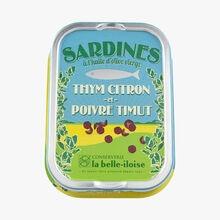 Sardines à l'huile d'olive vierge, thym citron et poivre Timut Conserverie la Belle-Iloise