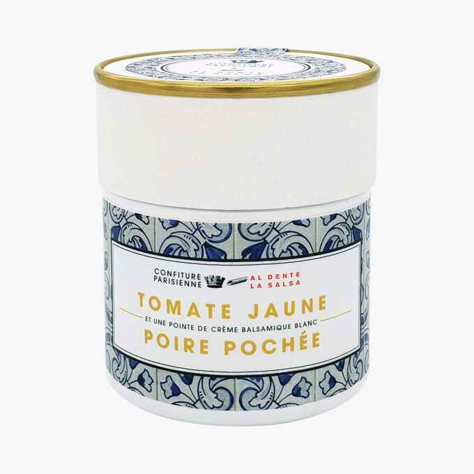 Young tomato, poached pear and a hint of white balsamic cream Confiture Parisienne