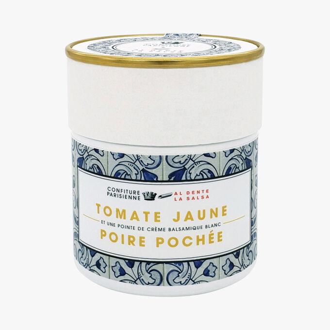 Tomate jaune poire pochée et une pointe de crème balsamique blanc Confiture Parisienne