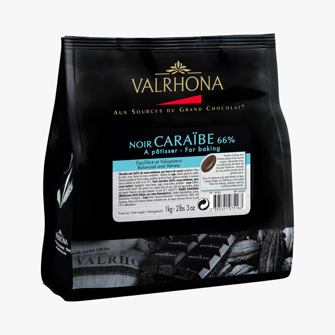 Noir Caraïbe, dark cooking chocolate 66 % Valrhona