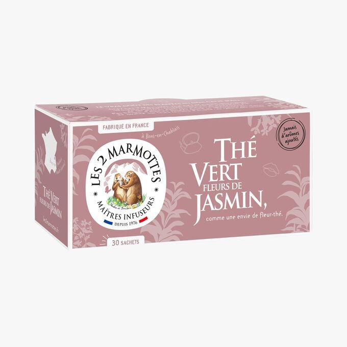 Thé vert fleurs de jasmin, 30 sachets Les 2 marmottes