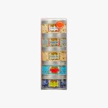 Assortment of 5 miniature tins of exclusive Russian Blends Kusmi Tea