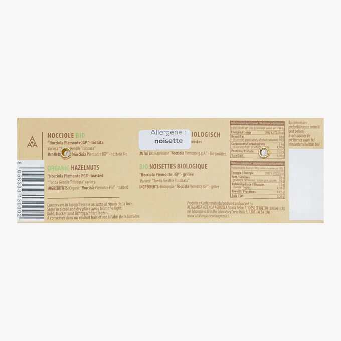 Noisettes Biologique Nocciole Piemonte IGP grillées Altalanga