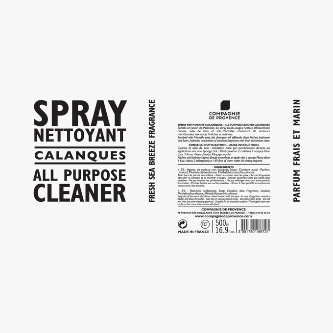 Calanques cleaning spray Compagnie de Provence