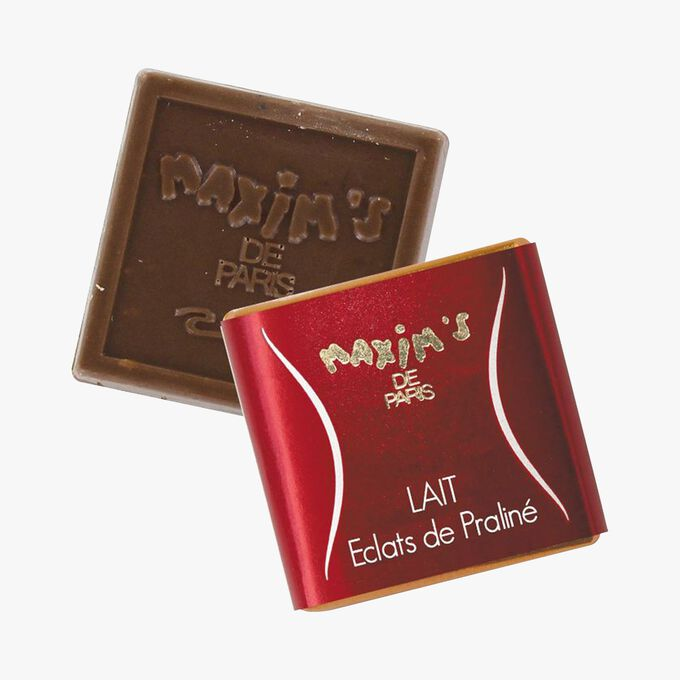 Red pencil tin with chocolate squares Maxim's