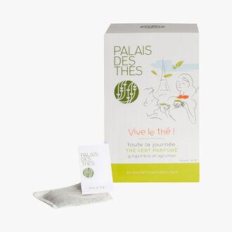Vive le thé ! Thé vert gingembre & agrumes, 20 sachets mousselines Palais des Thés