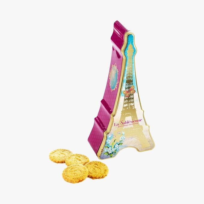 Sablés nature, boîte en métal «tour Eiffel» La Sablésienne