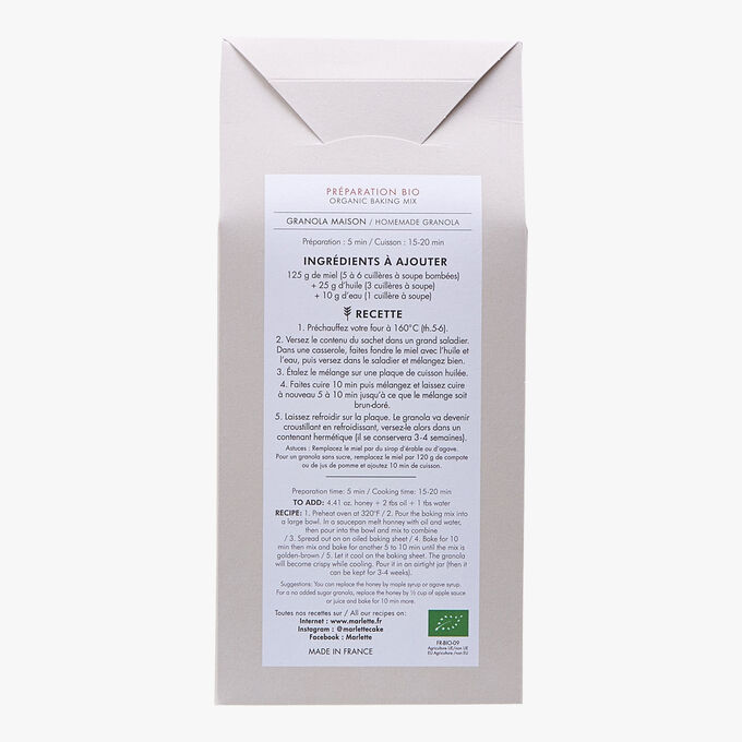 Organic mix for homemade granola Marlette