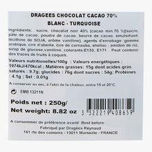 Dragées Chocolat Cacao 70 % - Blanc - Turquoise Reynaud