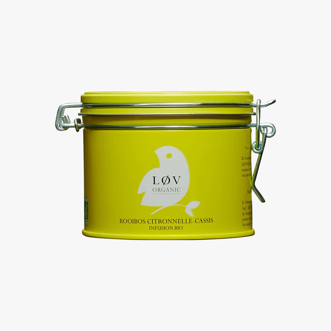 Rooibos Lemongrass-Blackcurrant, metal tin Lov Organic