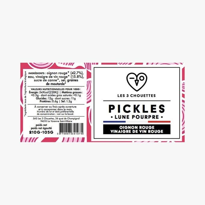 Pickles bio, Lune Pourpre, oignon rouge vinaigre de vin rouge Les 3 chouettes