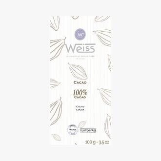 Tablette de chocolat 100 % cacao Weiss