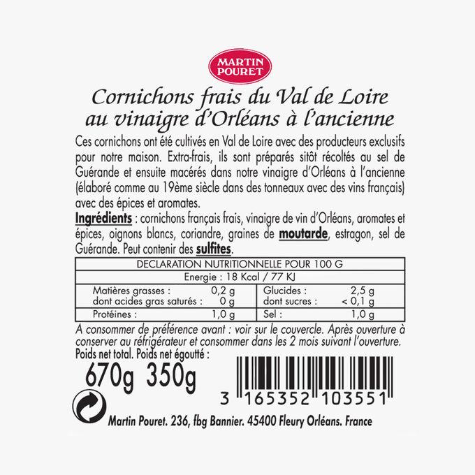 Cornichons frais du Val de Loire au vinaigre d'Orléans à l'ancienne Martin Pouret