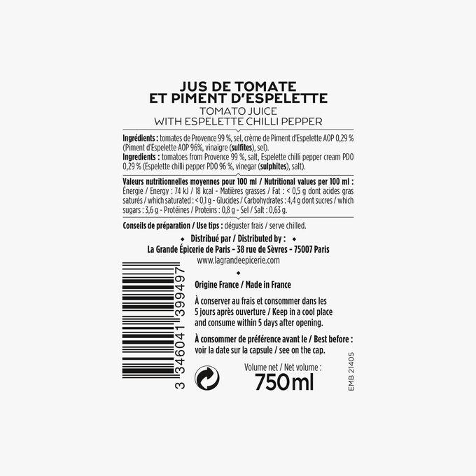 Le jus de tomate de Provence et piment d'Espelette La Grande Épicerie de Paris