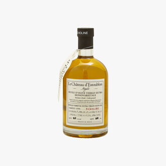 Picholine extra virgin olive oil in an apothecary bottle Château d'Estoublon