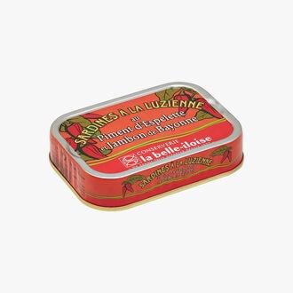 Sardines à la Luzienne au piment d'Espelette et jambon de Bayonne Conserverie la Belle-Iloise