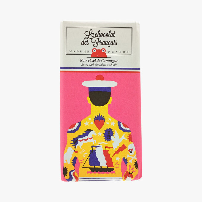 Dark chocolate and Camargue salt – Illustration by Joel Burden Le Chocolat des Français