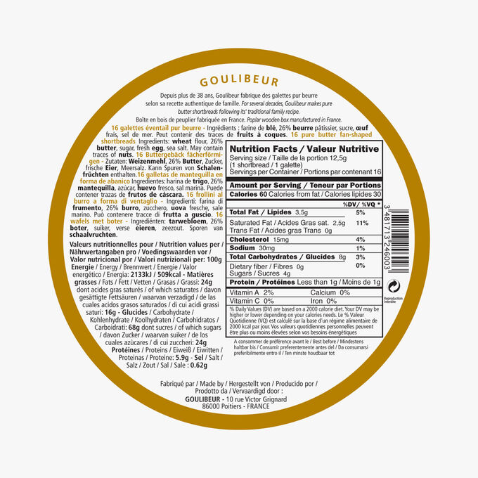 16 galettes éventail pur beurre Goulibeur