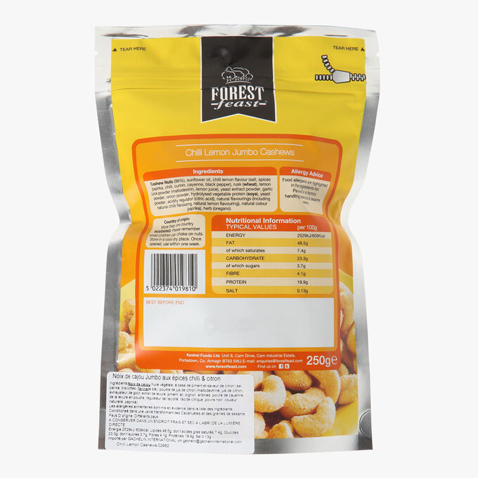 Jumbo cashews with chili and lemon spices Forest Feast