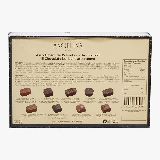 Box of 15 assorted chocolates Angelina