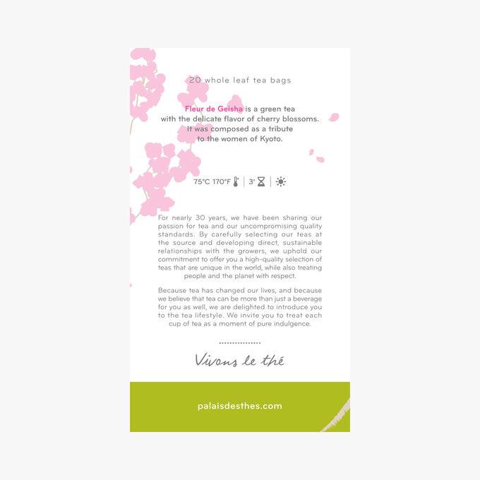Fleur de Geisha, green tea, cherry blossom, 20 muslin teabags Palais des Thés