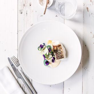 Semi-salted cod with courgettes and a lavender condiment, , hi-res title=Semi-salted cod with courgettes and a lavender condiment,
