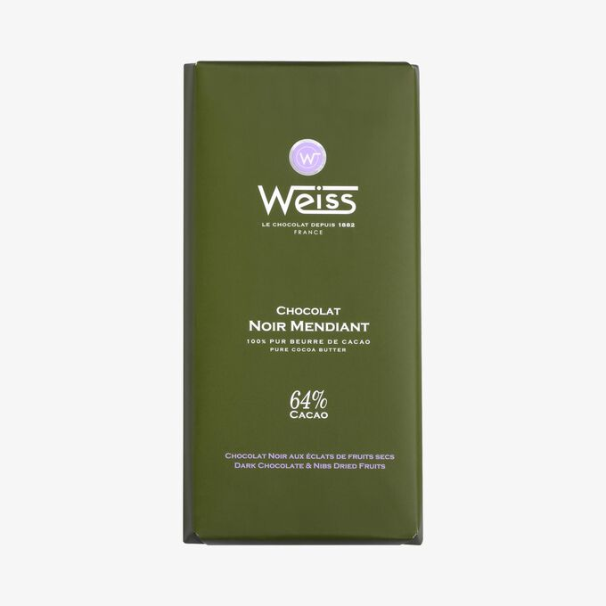 Dark chocolate bar 64 % mendiant Weiss