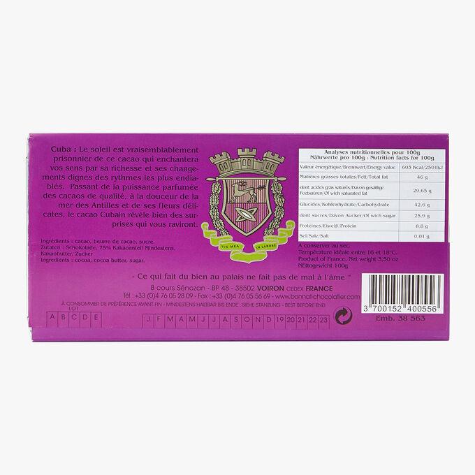 Tablette Cuba chocolat noir 75% de cacao Bonnat