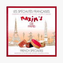 Assortiment de 32 spécialités françaises : pâtes de fruits, nougats, calissons et caramels Maxim's