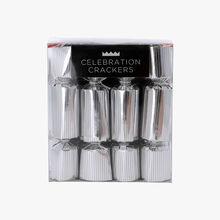 8 mini cubes de crackers argentés Celebration Crackers