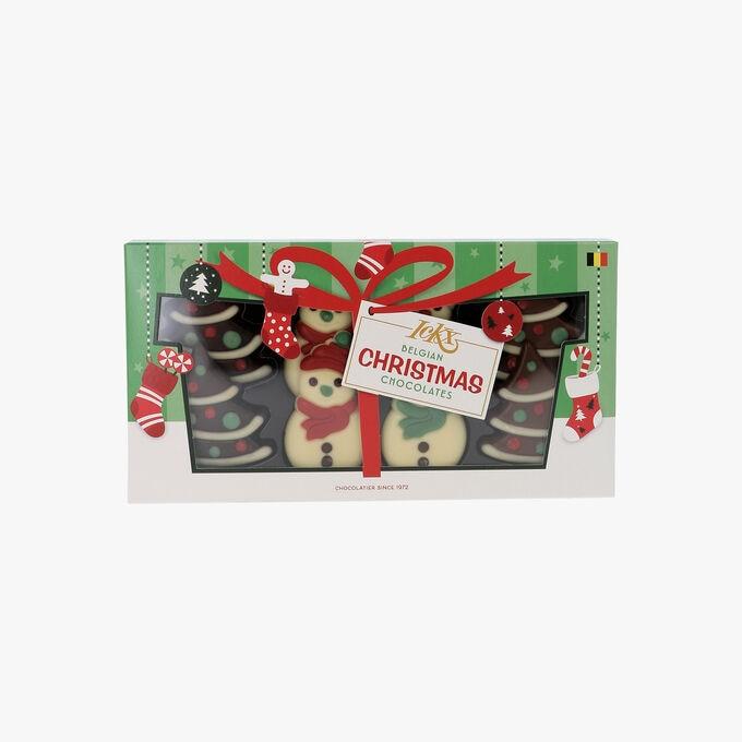 4 sapins et 4 bonhommes de neige en chocolat Chocolaterie IcKX