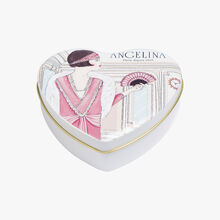 Chocolate pralines in a heart box Angelina