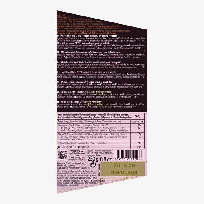 Caramélia milk cooking chocolate (36 % minimum cocoa, pure cocoa butter) Valrhona