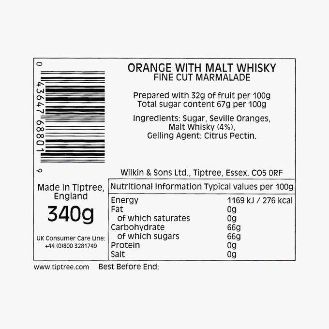 Fine-cut orange and pure malt whisky marmalade Wilkin & Sons
