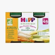 4 jars of organic vegetable puree for babies HiPP