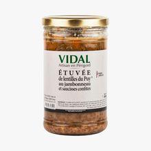 Le Puy lentil stew with knuckle of ham and sausage confit Vidal