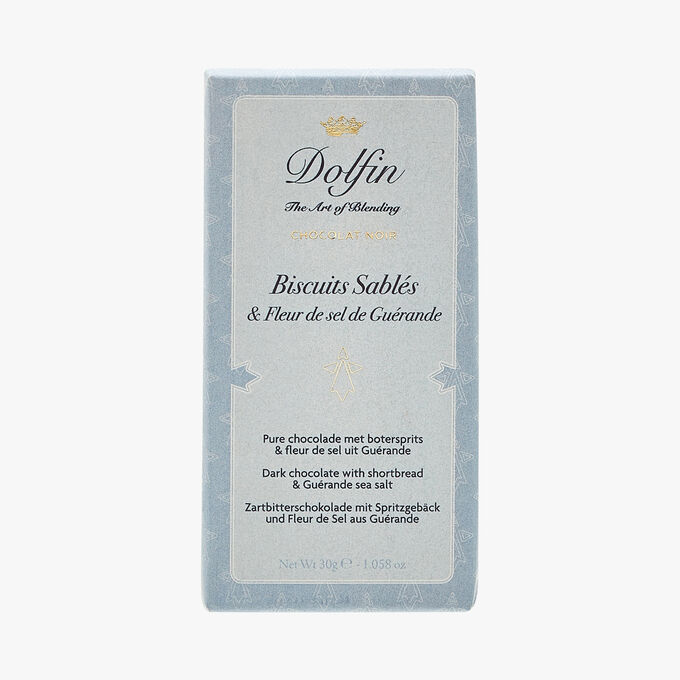 Dark chocolate - shortbread & Guérande fleur de sel Dolfin