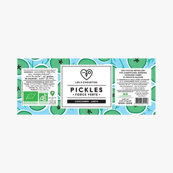 Pickles bio, Force verte, concombre - aneth Les 3 chouettes