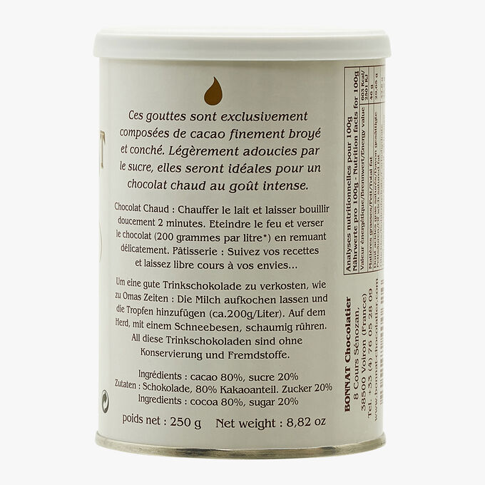 Gouttes de chocolat noir 80 % de cacao Bonnat