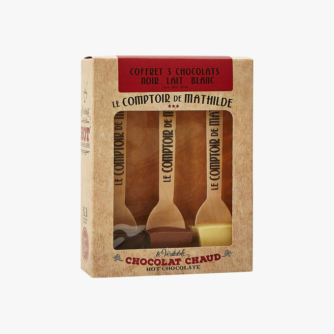 Le véritable chocolat chaud - coffret 3 chocolats noir lait blanc Le Comptoir de Mathilde
