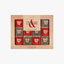 Coffee set chocolat lait & noir contenant 36 napolitains Café-Tasse