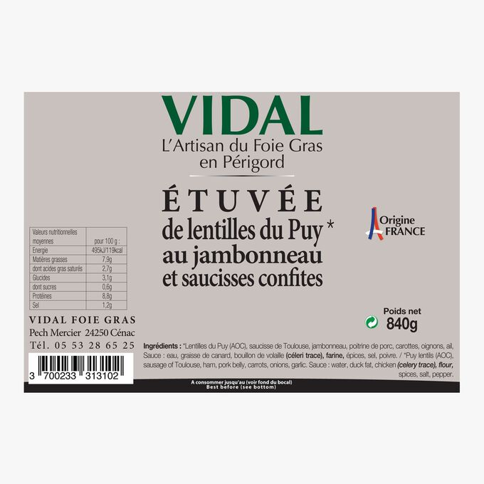 Etuvée de lentilles du Puy au jambonneau et saucisses confites Vidal