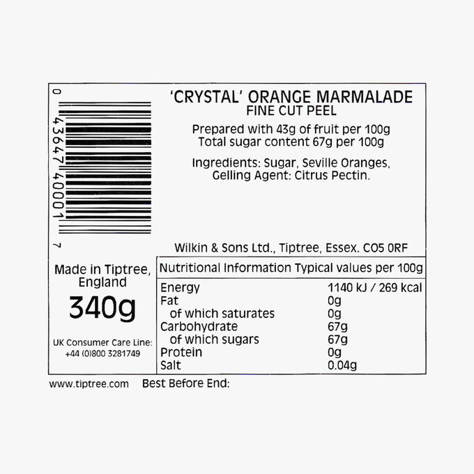 Marmelade d'oranges, avec écorce fine Wilkin & Sons