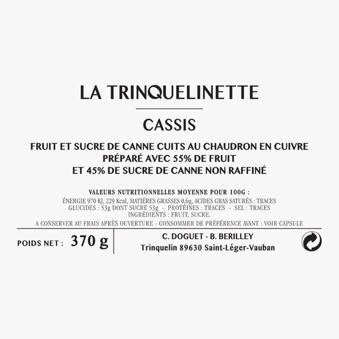 Blackcurrant jam La Trinquelinette