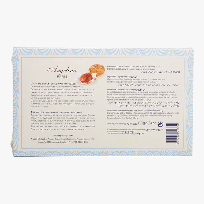 Box of 8 traditional candied chestnuts Angelina