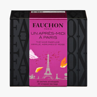 One Afternoon in Paris tea – Black tea flavoured with vanilla, citrus fruits and rose Fauchon