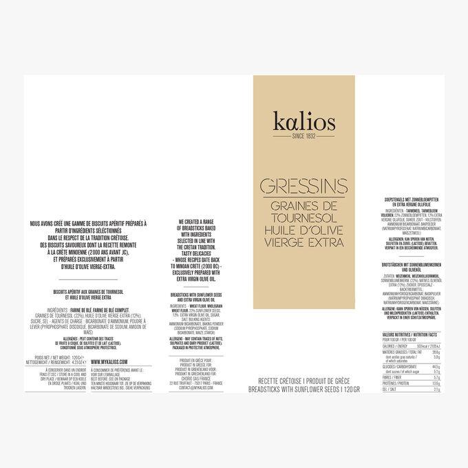 Gressins - Sunflower seeds & extra-virgin olive oil Kalios